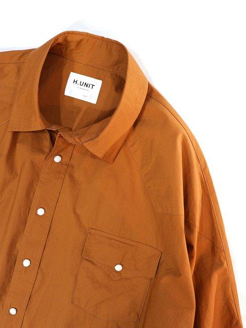 【H.UNIT】Typewriter western dolman short sleeves shirt:画像4