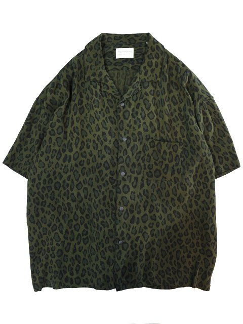 【MANUAL ALPHABET】LEOPARD OPEN COLLAR SHT
