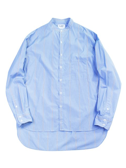 【H.UNIT】Typewriter stripe bandcollar long sleeves shirt