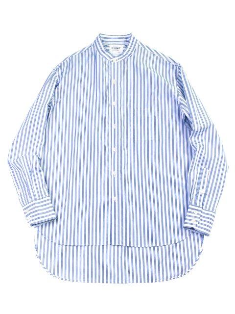 【H.UNIT】Typewriter stripe bandcollar long sleeves shirt:メイン画像