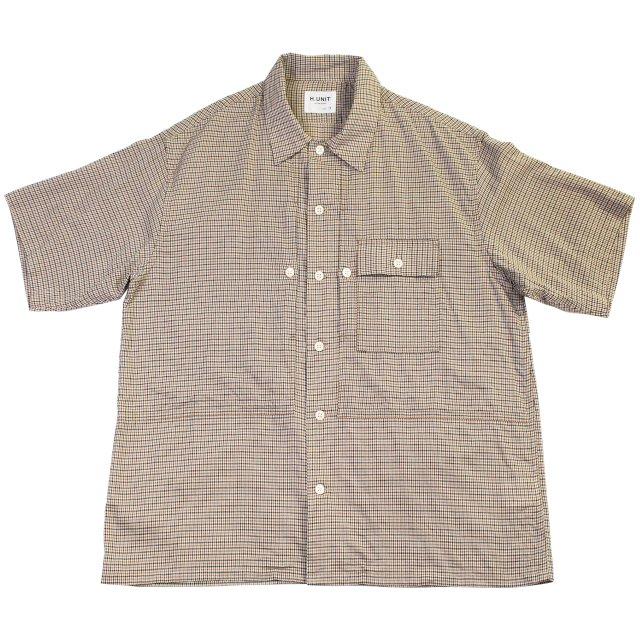 【H.UNIT】Voil check triple pocket short sleeves shirt:メイン画像