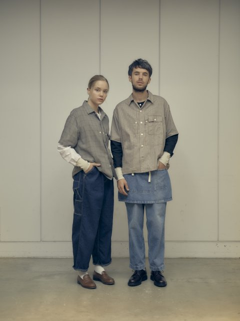 【H.UNIT】Voil check triple pocket short sleeves shirt:画像3