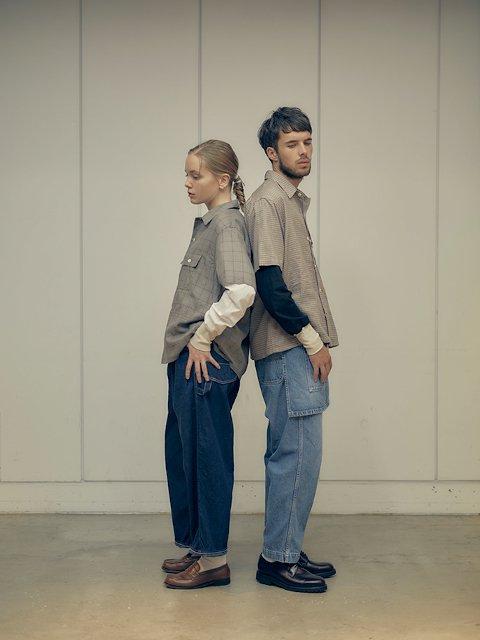 【H.UNIT】Voil check triple pocket short sleeves shirt:画像4