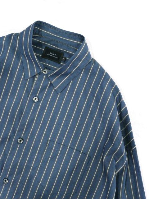 【SLICK】100/2 Stripe Dropped Shoulders Shirt:画像2