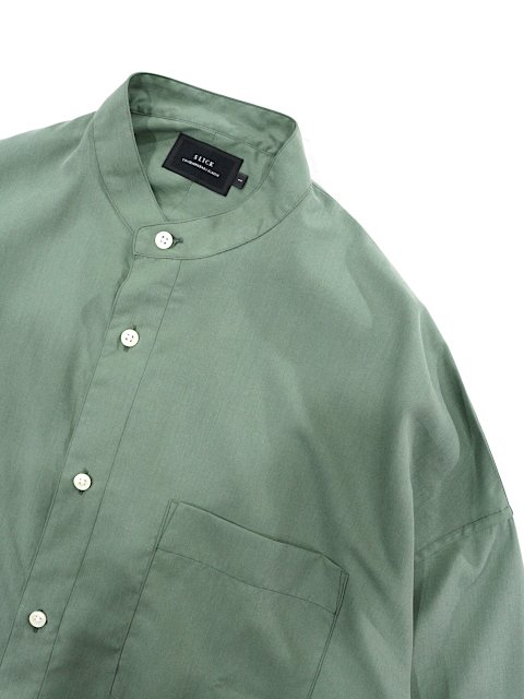 【SLICK】Vintage Poplin Dropped Shoulders Band Collar Shirt:画像2