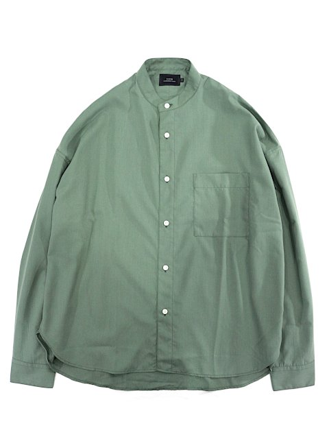 【SLICK】Vintage Poplin Dropped Shoulders Band Collar Shirt