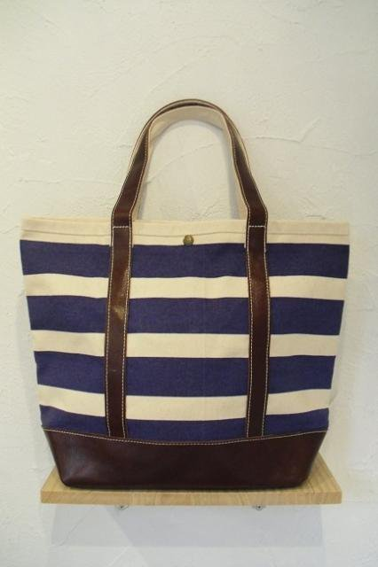 【ROUND HOUSE】CANVAS×LEATHER BORDER TOTE BAG:メイン画像