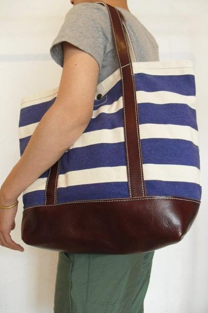 【ROUND HOUSE】CANVAS×LEATHER BORDER TOTE BAG:画像4