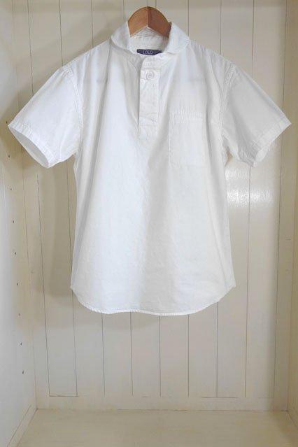LOLO オックス 丸襟プルオーバー半袖シャツ WHITE