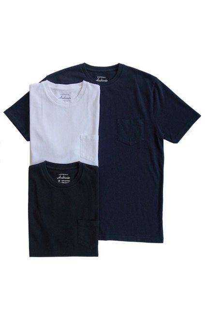 Ambiente Pique Crew Neck Pocket Tee (ピケクルーネックポケットTシャツ) WHITE / NAVY / BLACK