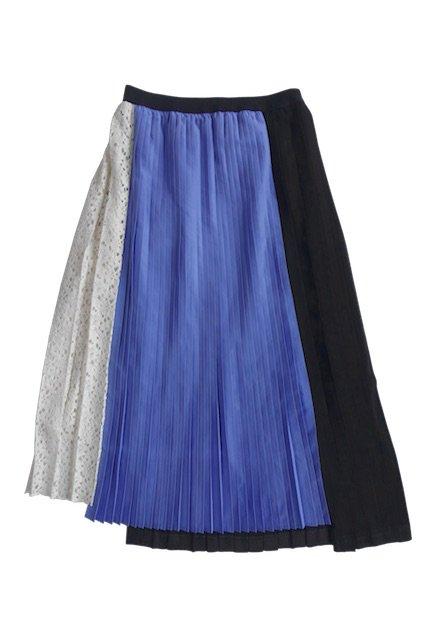 JILKY 異素材MIX 3トーンプリーツスカート  BLUE