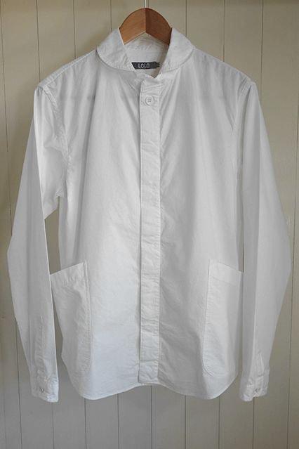 LOLO 定番プルオーバー型 前あきシャツ WHITE