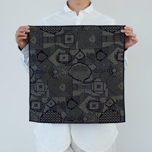 tenp02 福島の刺子織 大判ハンカチ(ネイビー)