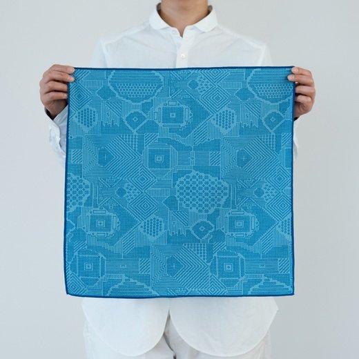 tenp02 福島の刺子織 大判ハンカチ(ブルー)