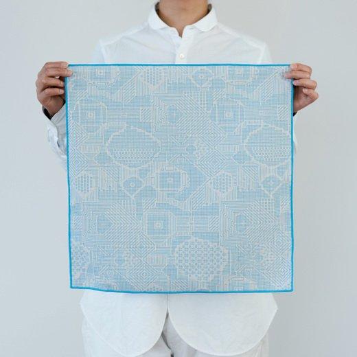 tenp02 福島の刺子織 大判ハンカチ(ライトブルー)