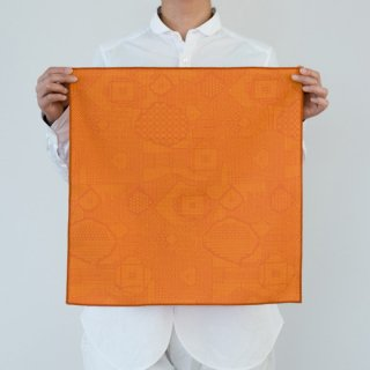 tenp02 福島の刺子織 大判ハンカチ(レッド)