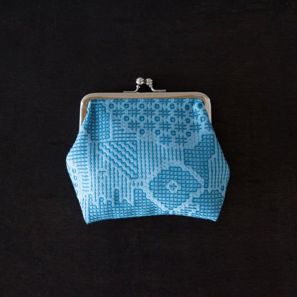 tenp02 福島の刺子織 がまぐち正(ブルー)