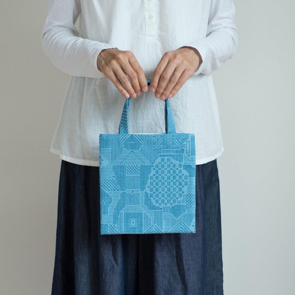 tenp02 福島の刺子織 ミニバッグ(ブルー)