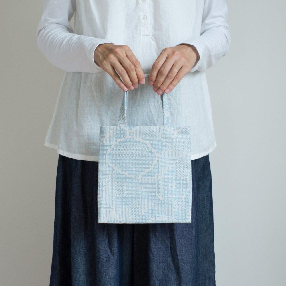 tenp02 福島の刺子織 ミニバッグ(ライトブルー)