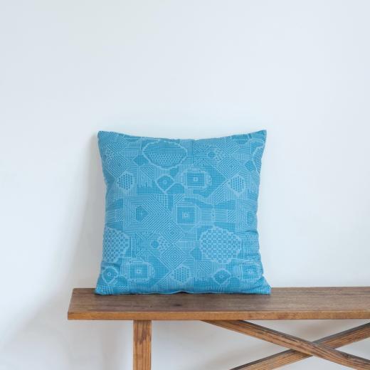 tenp02 福島の刺子織 クッションカバー(ブルー)