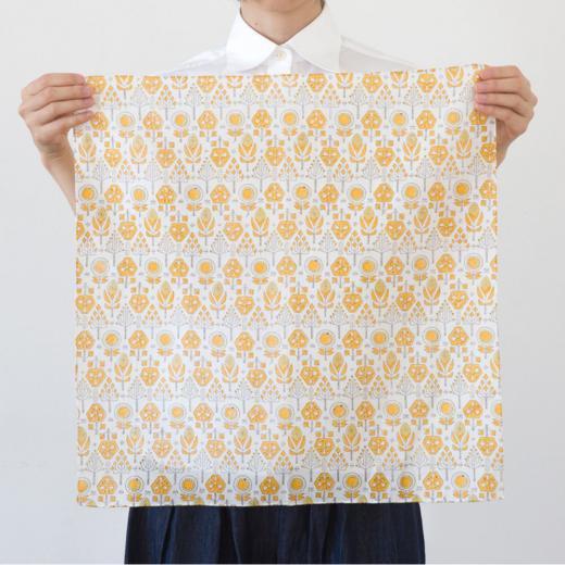 tenp05 インドのブロックプリント ハンカチ バローダの花(イエロー)