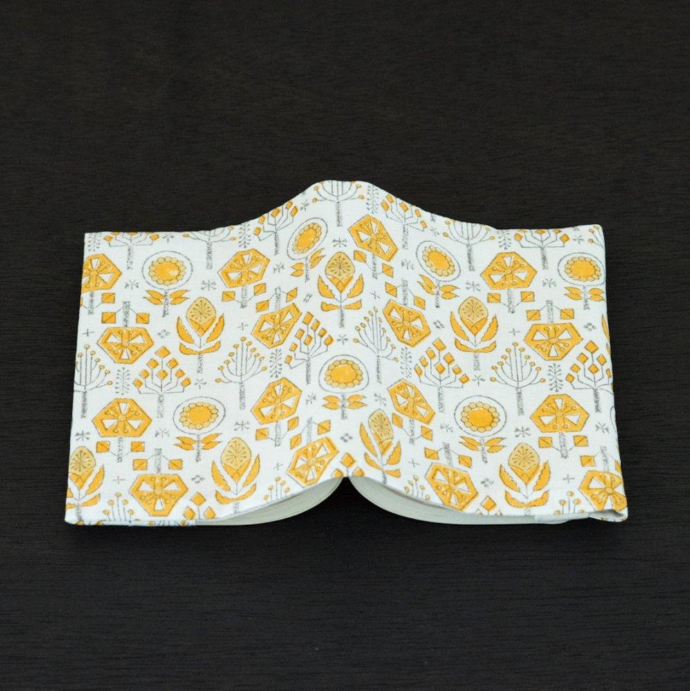 tenp05 インドのブロックプリント ブックカバー バローダの花(イエロー)