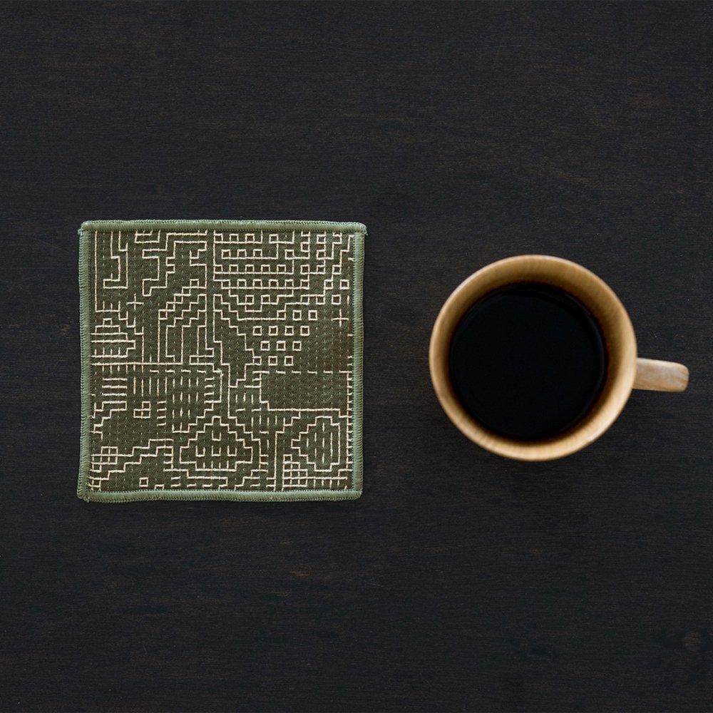 tenp02 福島の刺子織 コースター(モスグリーン)