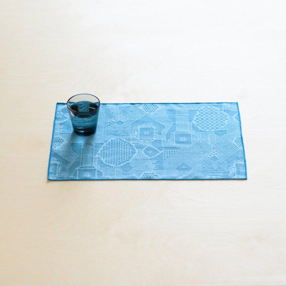 tenp02 福島の刺子織 ランチマット (ブルー)