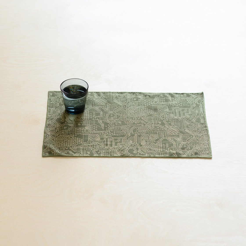 tenp02 福島の刺子織 ランチマット (モスグリーン)