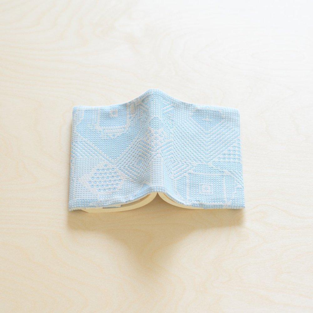 tenp02 福島の刺子織 ブックカバー (ライトブルー)