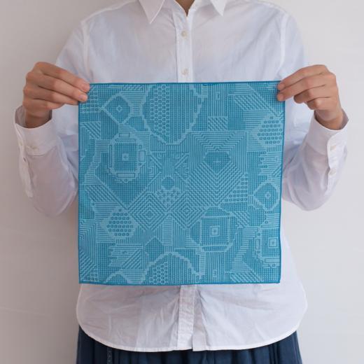 tenp02 福島の刺子織 ハンカチ (ブルー)