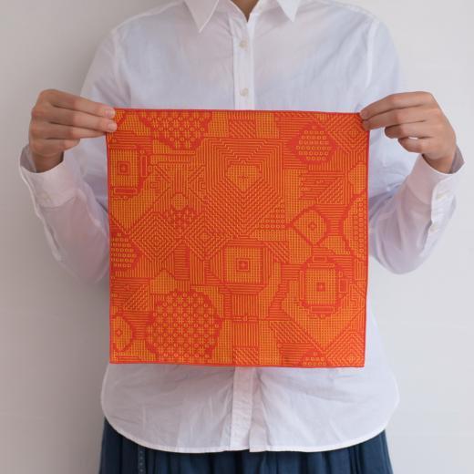 tenp02 福島の刺子織 ハンカチ(レッド)