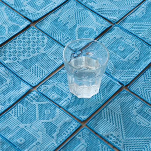 tenp02 福島の刺子織 コースター(ブルー)