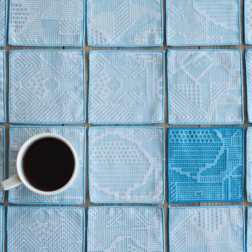 tenp02 福島の刺子織 コースター(ライトブルー)