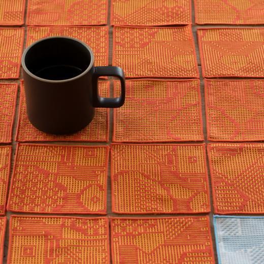 tenp02 福島の刺子織 コースター(レッド)