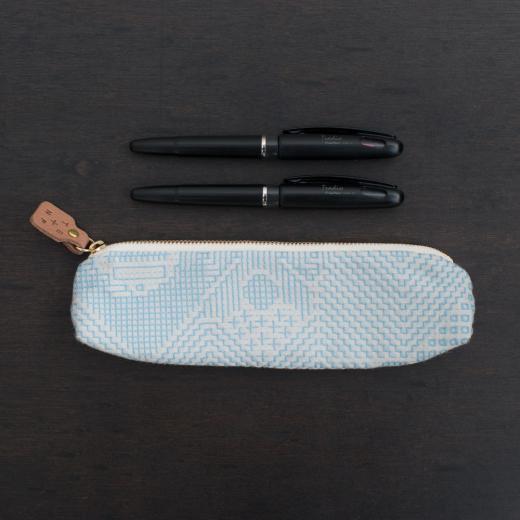 tenp02 福島の刺子織  ペンケース  (ライトブルー)