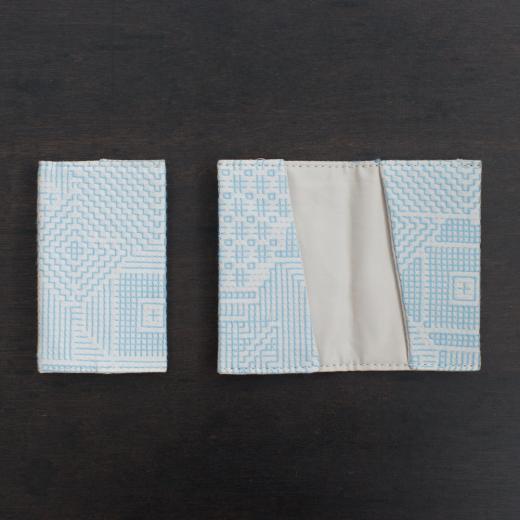 tenp02 福島の刺子織  カードケース  (ライトブルー)