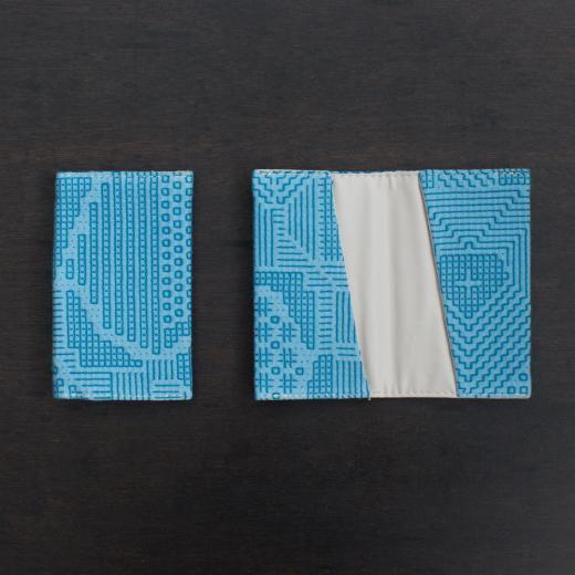 tenp02 福島の刺子織  カードケース  (ブルー)