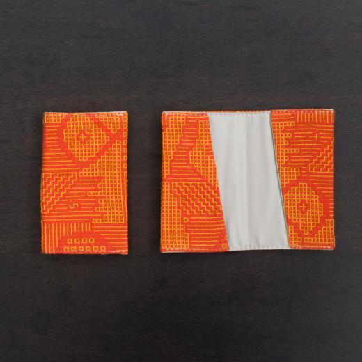 tenp02 福島の刺子織  カードケース  (レッド)