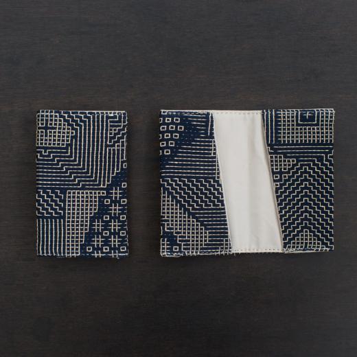 tenp02 福島の刺子織  カードケース  (ネイビー)