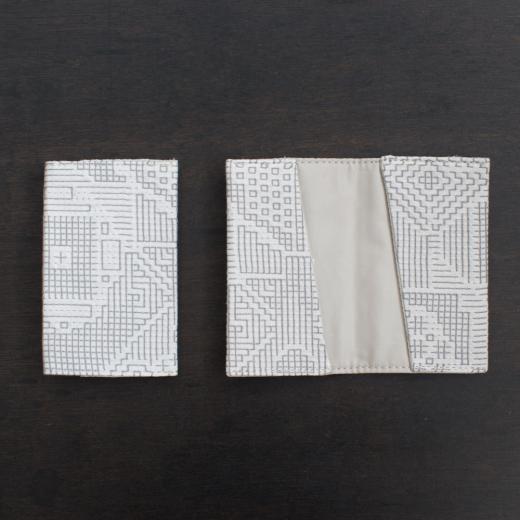 tenp02 福島の刺子織  カードケース  (オフホワイト)