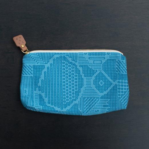 tenp02 福島の刺子織  ポーチ  (ブルー)