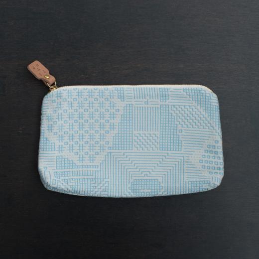 tenp02 福島の刺子織  ポーチ  (ライトブルー)
