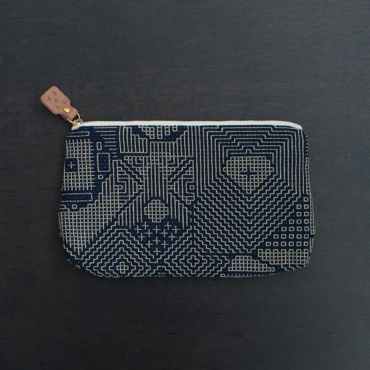 tenp02 福島の刺子織  ポーチ  (ネイビー)