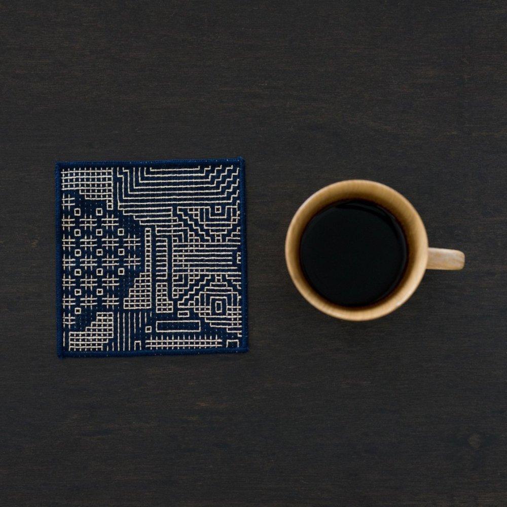 tenp02 福島の刺子織 コースター(ネイビー)