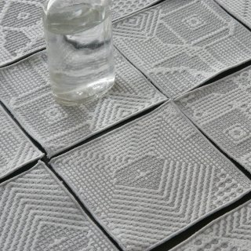 tenp02 福島の刺子織 コースター(オフホワイト)