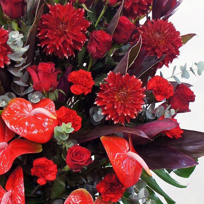 赤!赤!赤にこだわった情熱的なスタンド花(二段)rp-013