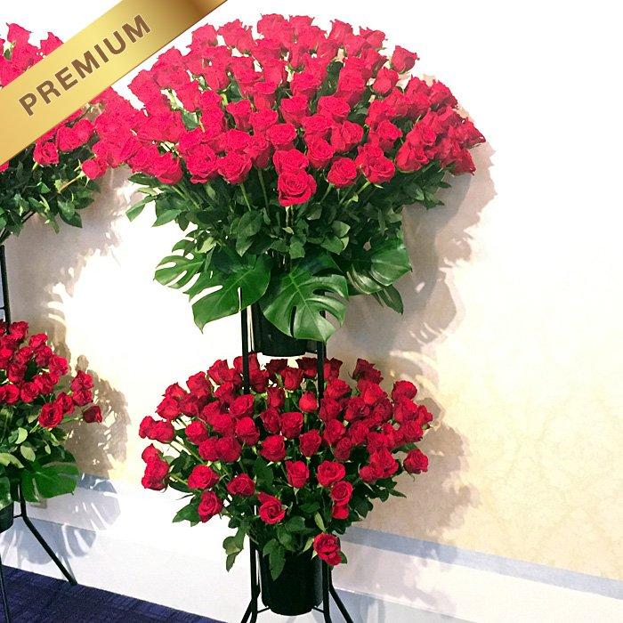 赤いバラ(薔薇)200本のスタンド花(二段) 200ROSES - スタンド花なら勝ち花.com