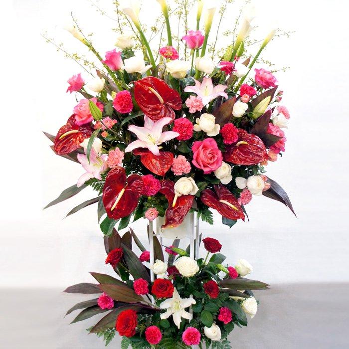 rp-002 情熱的な色合いのスタンド花(二段) - スタンド花なら勝ち花.com