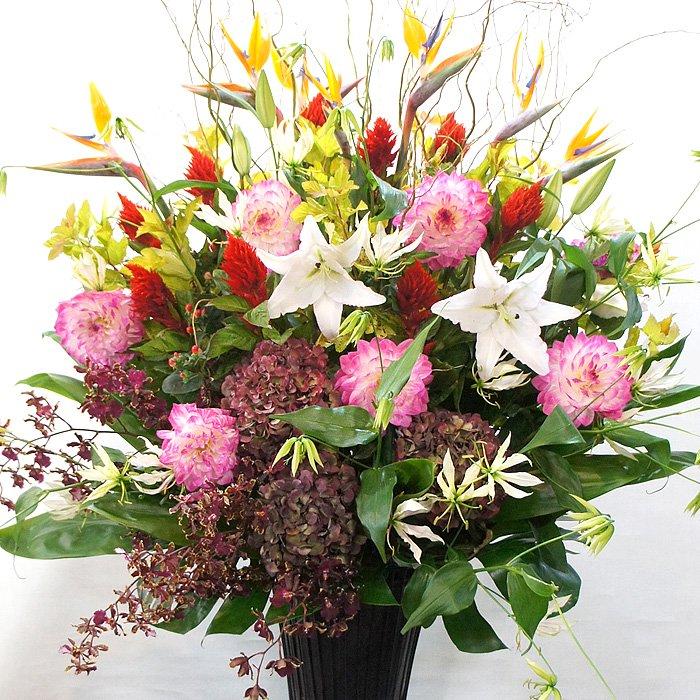 kp-003 エキゾチックな極楽鳥花のスタンド花 - スタンド花なら勝ち花.com